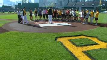 On Sunday, the Pittsburgh Pirates hosted a women's baseball clinic at PNC Park for A Glimmer of Hope, which supports funding for breast cancer research.