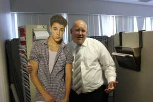 Justin visiting the sales team