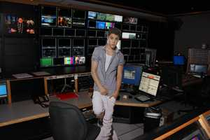 Justin visiting Studio Control after the newscast