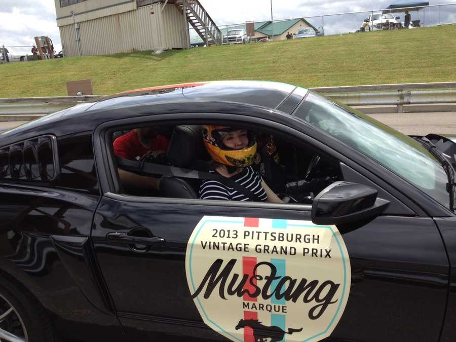 Sally buckled up at the Pittsburgh International Race Complex in Wampum, Lawrence County.