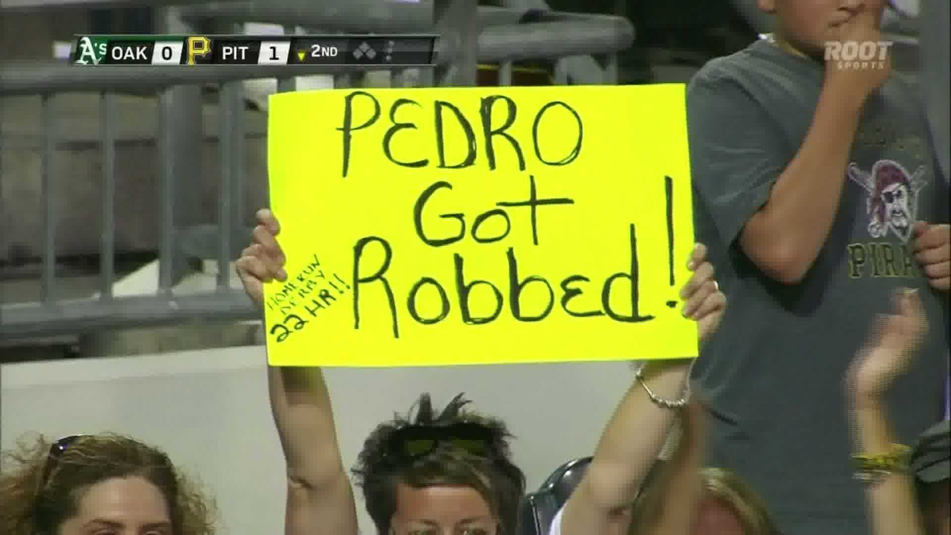 A Pirates fan reacts to Pedro Alvarez not being selected for the Home Run Derby.