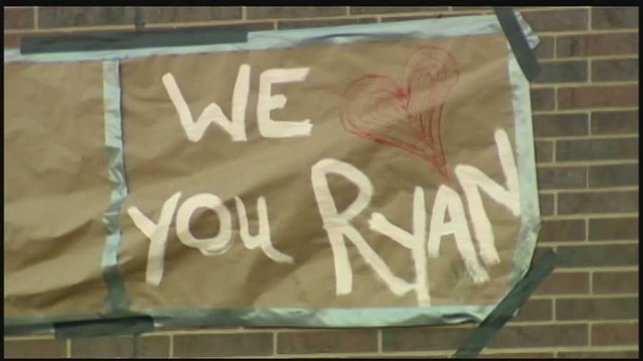 Ryan Richards is remembered in the message of a sign at Highlands High School.