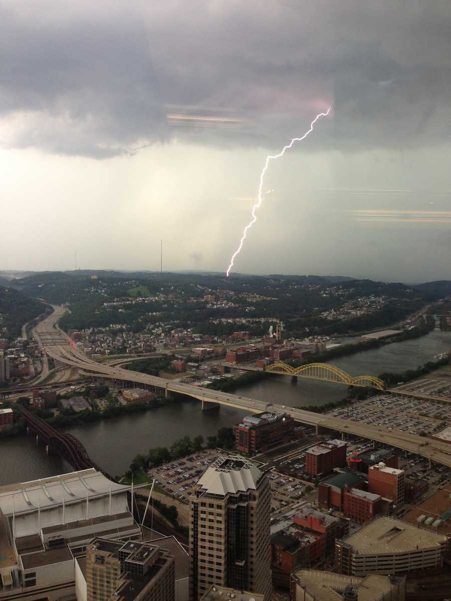 A view of the storms and lightning from the U.S. Steel Tower in downtown Pittsburgh
