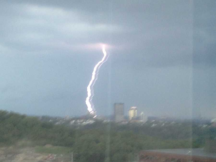 A lightning strike seen from Green Tree