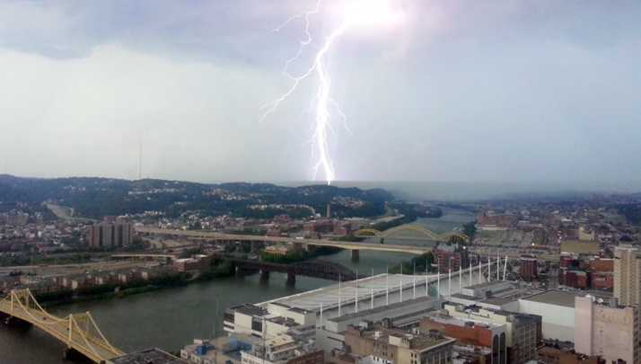 A lightning strike captured on camera from the K&L Gates building
