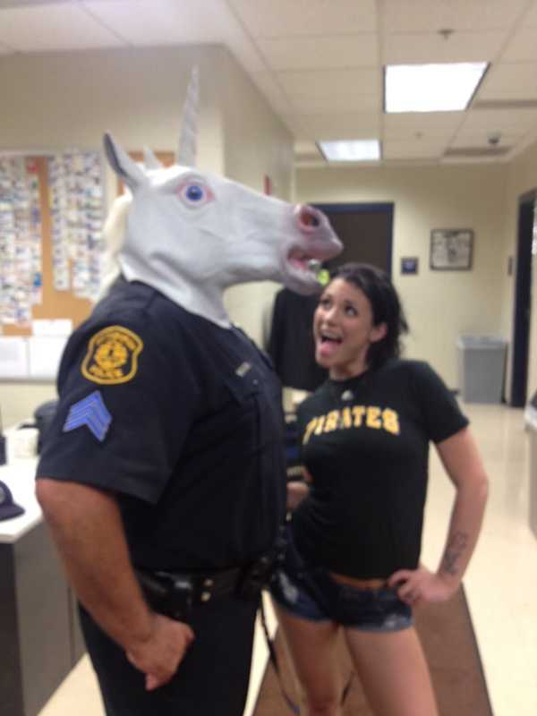 The photo in question shows the officer, who has not been identified, and adult actress Andy San Dimas, who was in town for a performance at a night club, posing inside a security office at the ballpark during the Pirates-Mets game last Saturday.