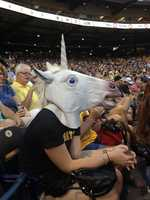 """Once San Dimas sat down, they were asked to go to the security office, where Hughes said the actress was told she was in trouble because she didn't sit down when she was told to. """"They thought the unicorn mask was funny. They all asked if they could put it on and take pictures with it. Everybody was just having fun with it, thought it was funny. The mask was not the issue at all,"""" said Hughes."""