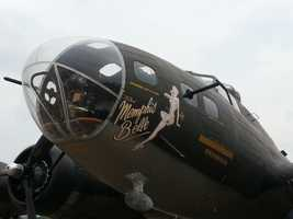 """The """"Memphis Belle,"""" a restored WWII B-17 bomber, took to the skies over Pittsburgh on Monday."""