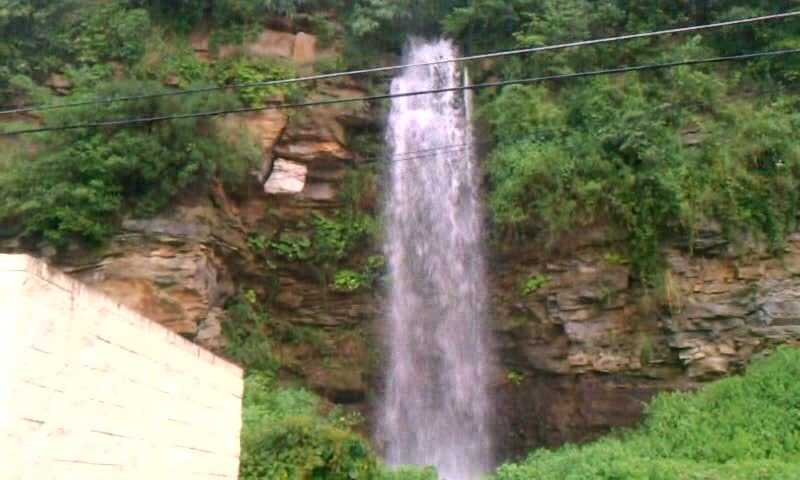 Here's a waterfall coming down the hillside behind The Olive Garden on Mall Boulevard in Monroeville. (Watch the video)