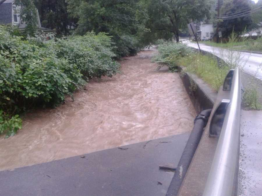 Flooding of Thompson Run, by Lower Rodi Road in Wilkins Township.