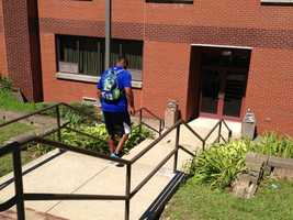 Ryan Clark was sporting a Monsters University backpack as he arrived at camp.