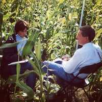 She and Mike Clark had to meet outside their satellite truck everyday in a corn field to plan their live shots. (Remember, it was 2001. Cellphone signals were still spotty in many areas, especially rural ones.)