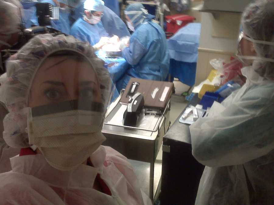 Michelle has a passion for covering medical stories and has been an observer many times in the operating room. Here, she's watching a kidney transplant.