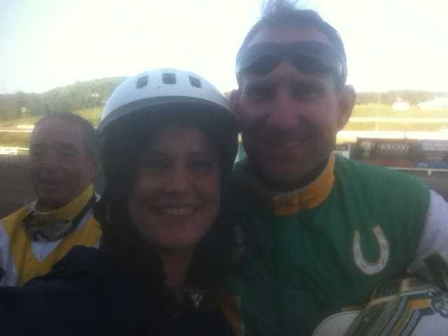 Celebrity harness race at the Meadows: Marcie Cipriani won, and Michelle came in second.