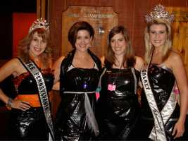 At the Garbage Bag Gala, with beauty queens from the Mrs. Pennsylvania Galaxy Pageant.