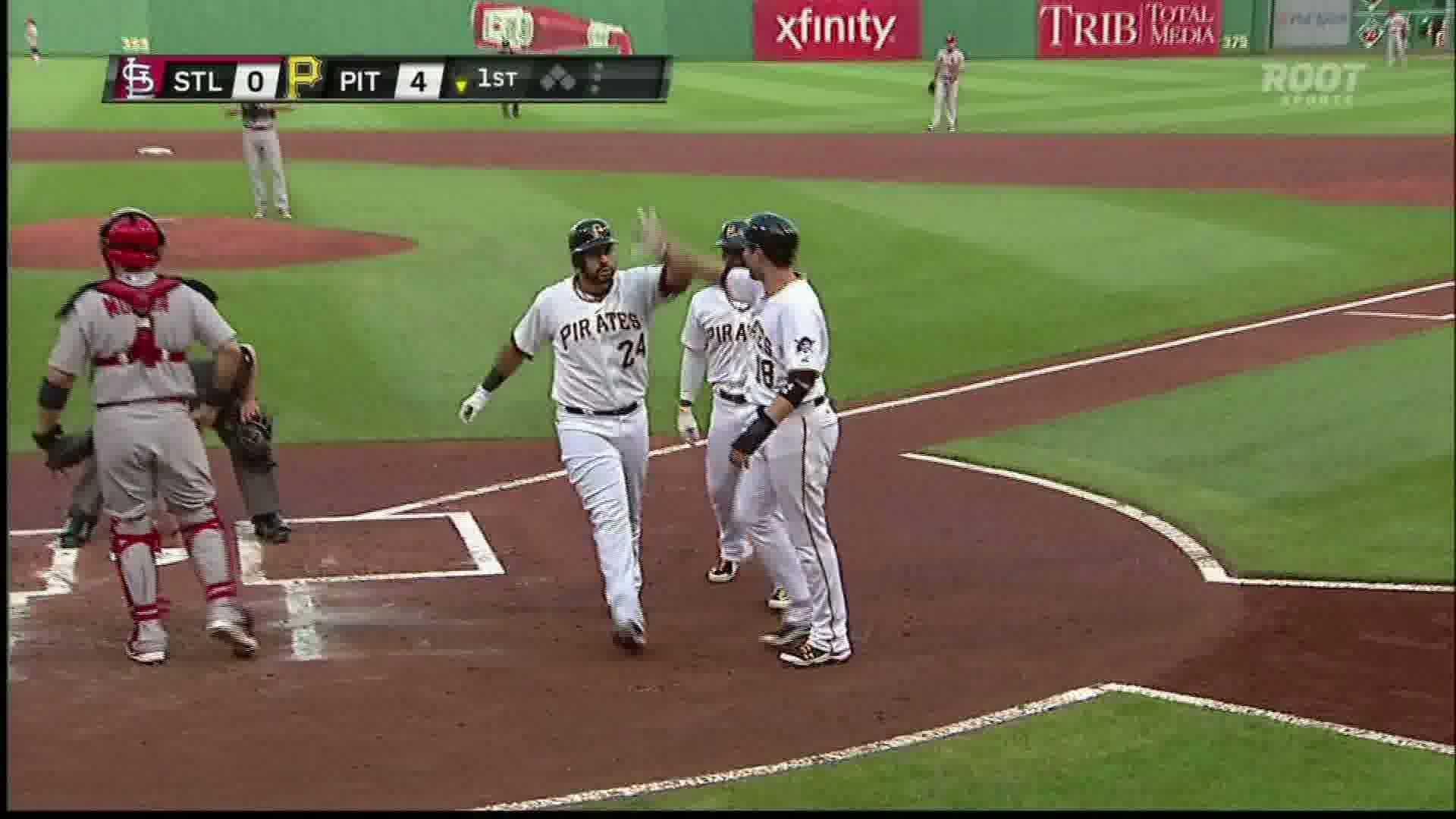 Pedro Alvarez celebrates his 27th home run Monday night against St. Louis.