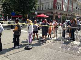 A large crowd gathered in Market Square Wednesday to take advantage of a big giveaway from Spirit Airlines.