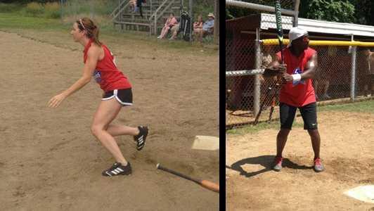 WTAE's Ashley Dougherty and Sheldon Ingram showing off their batting skills last year.