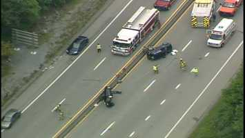 Two vehicles each ended up on their side after a crash on Route 30 in Hempfield Township, Westmoreland County.