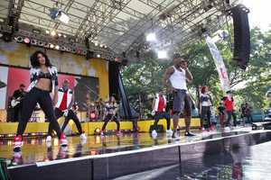"Ne-Yo performs live in Central Park as part of the GMA Summer Concert Series, on ""Good Morning America,"" 8/2/13. (Photo by ABC/Fred Lee)"
