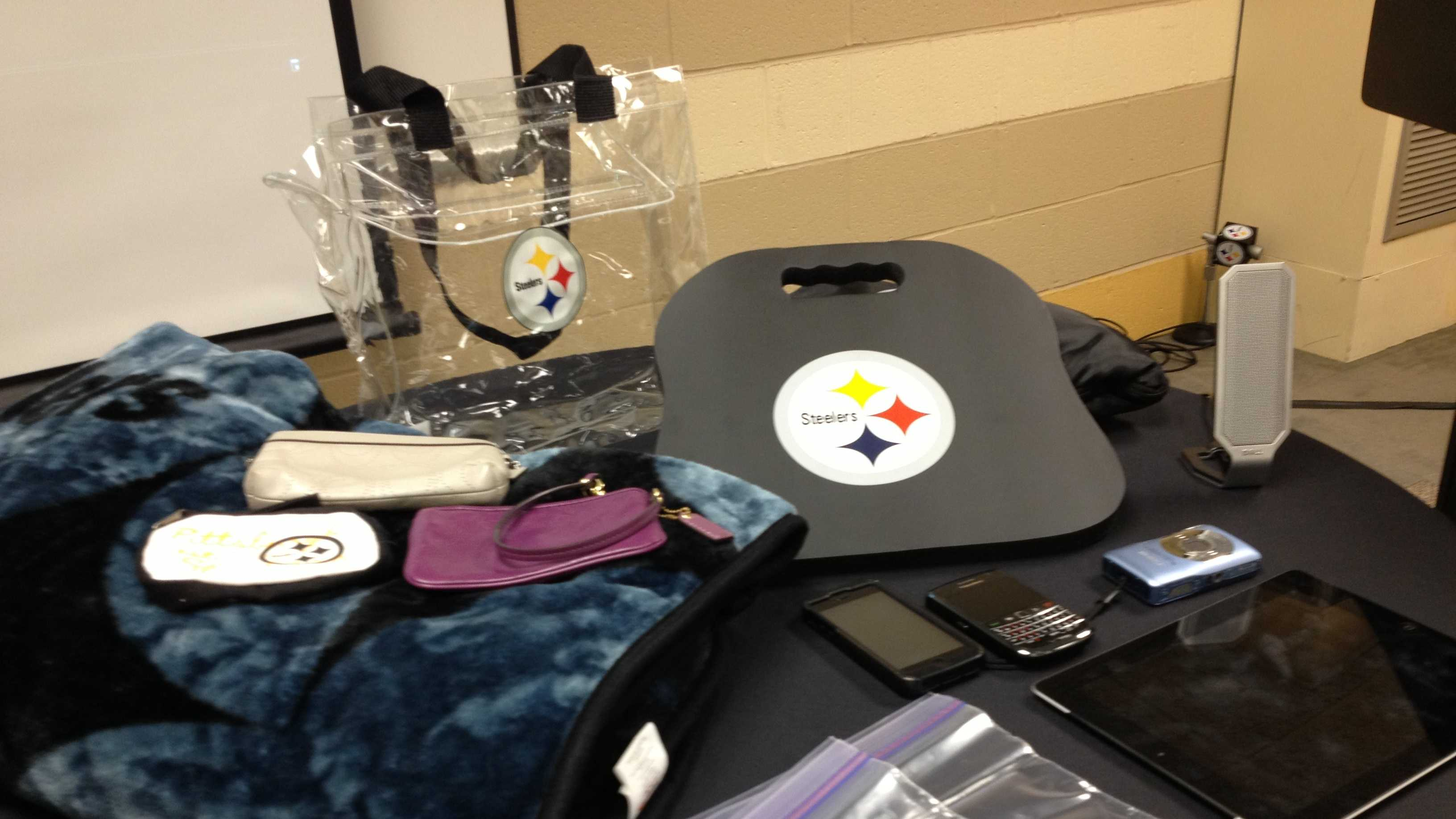 "An example of ""good"" bags that will be allowed in Heinz Field under a new NFL security policy."