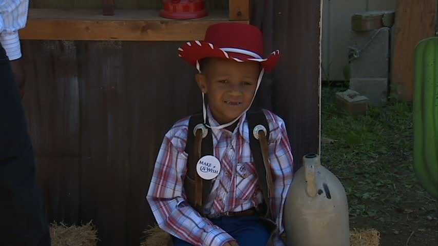 """Noah Keith always wanted to be a cowboy. On Tuesday, the 6-year-old boy's wish came true as he learned the ropes at """"cowboy school."""""""
