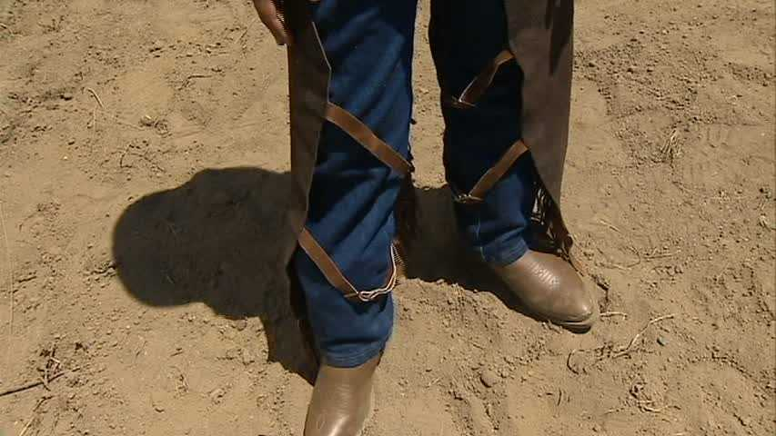 ... and no cowboy attire would be complete without leather chaps.