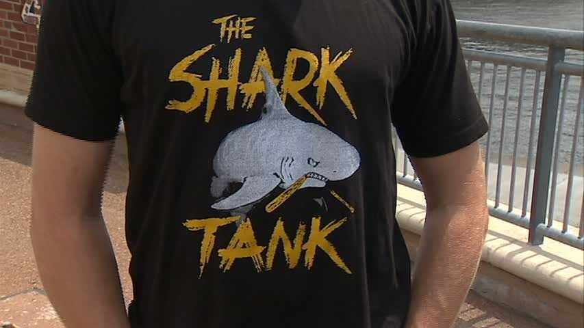 """The Pirates' bullpen, dubbed the """"Shark Tank"""" for the way it's been circling opposing batters this season, now has its very own T-shirt."""