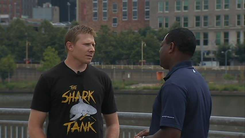 """""""We're going to have a map in the clubhouse and we're going to try to get a person from every state to tweet in their picture wearing the shirt. We'll have a hashtag (#BucsSharkTank) that we can all identify with. It'll be cool to get everybody in each state having a 'Shark Tank' shirt,"""" Melancon told Channel 4 Action News' Andrew Stockey. (Follow Melancon on Twitter under @Mark_Melancon_)"""