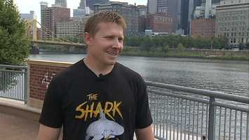 Setup man and current closer Mark Melancon modeled the new shirt for Channel 4 Action News outside PNC Park on Wednesday afternoon.