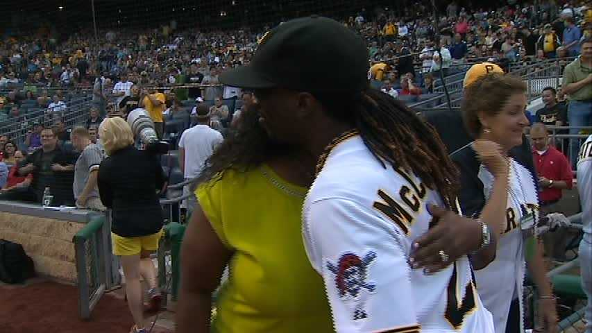 """After she was done, she was greeted with a big smile and a hug from her son. """"It's always great to watch her go out and perform,"""" said Andrew McCutchen. """"Every day is always new and it's always great to be able to hear her just show her gift."""""""
