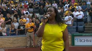 Petrina McCutchen performed the national anthem before the Pirates took the field against the Miami Marlins at PNC Park.