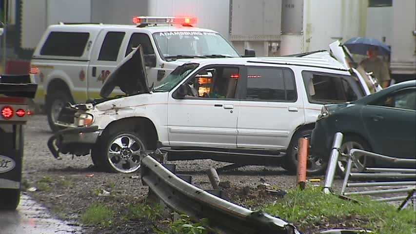 Police said the driver of the white SUV lost control and hit another car.