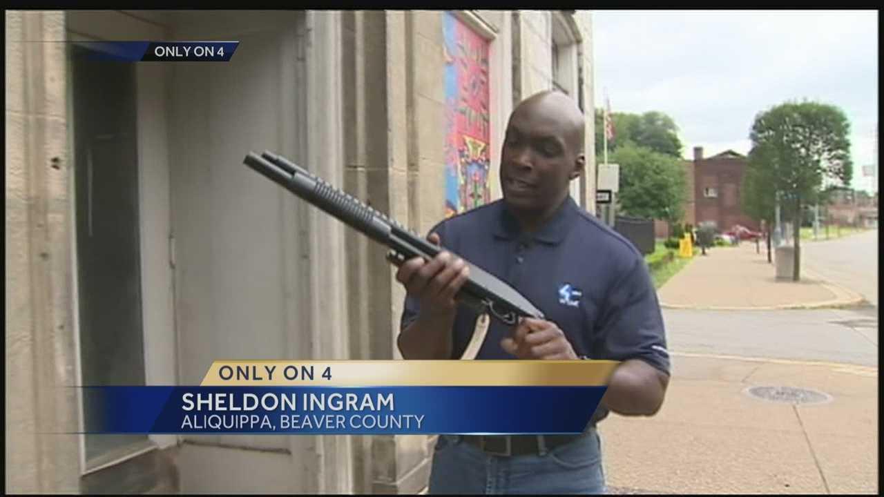 Sheldon Ingram holding fake gun
