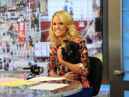 "Carrie Underwood co-hosted ""Good Morning America,"" on August 12, 2013."