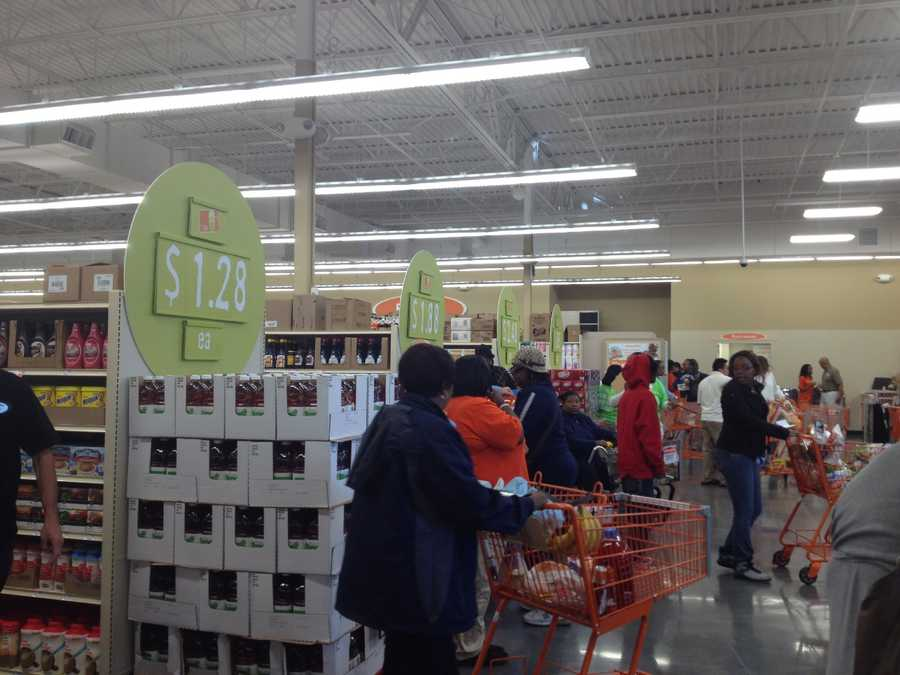 The store was packed with shoppers on opening day.