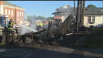 The fire started around 4 a.m. on McCarrell Avenue. People who live nearby say they heard a loud boom just before the flames engulfed the house.