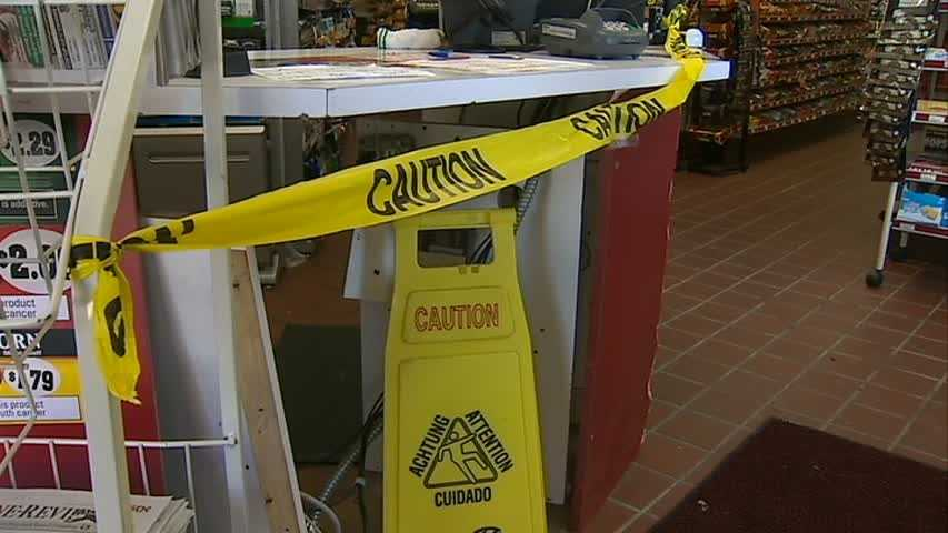 The front counter was also damaged.