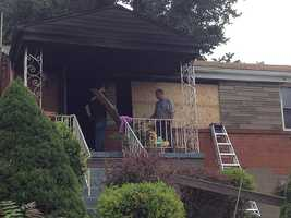The Red Cross is helping the family after the damage to their house.