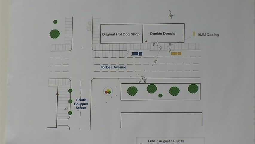 This diagram shows the path that the suspects took, according to the District Attorney's Office.