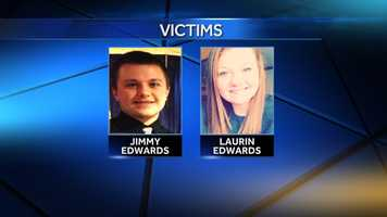 Laurin Edwards was killed. Her brother, Jimmy, was rushed to a hospital in critical condition.