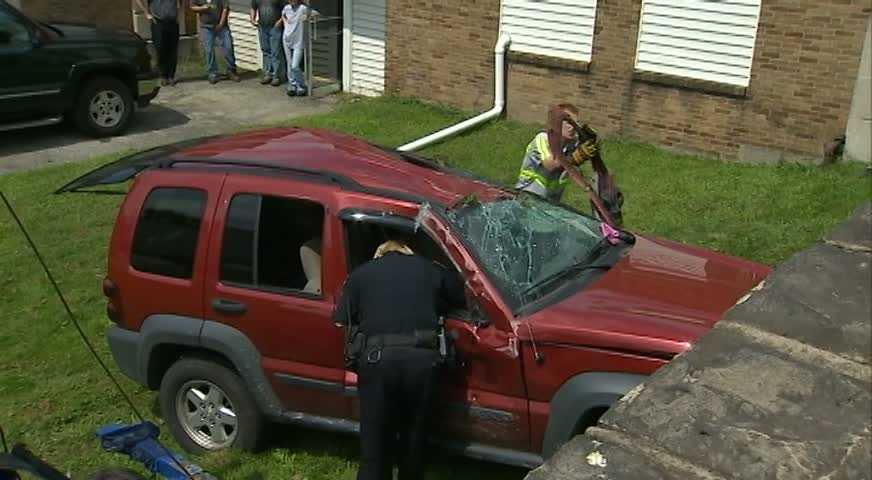The man who was driving the Jeep Liberty was not injured, while a female passenger was taken to an area hospital but was expected to be OK, police said.