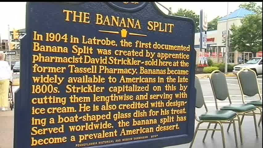The historical commission says two other American towns claim credit for the first banana split, but the claims that give credit to Strickler are better documented.