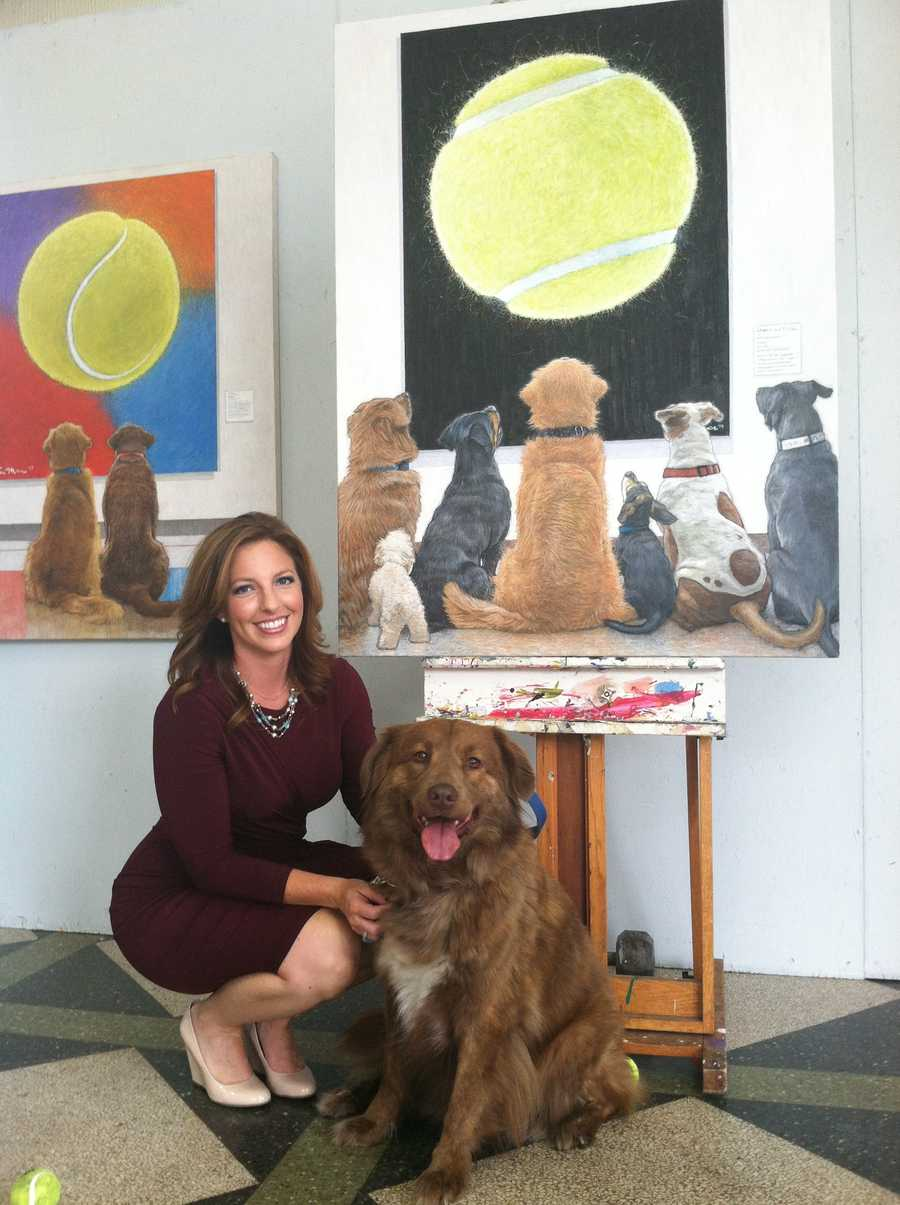 One of the dogs featured in the painting belongs to Weather Watch 4 meteorologist Ashley Dougherty.