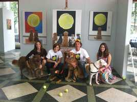 The painting features seven rescue dogs staring at a painting of a tennis ball.