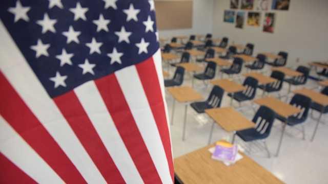 School classroom American flag