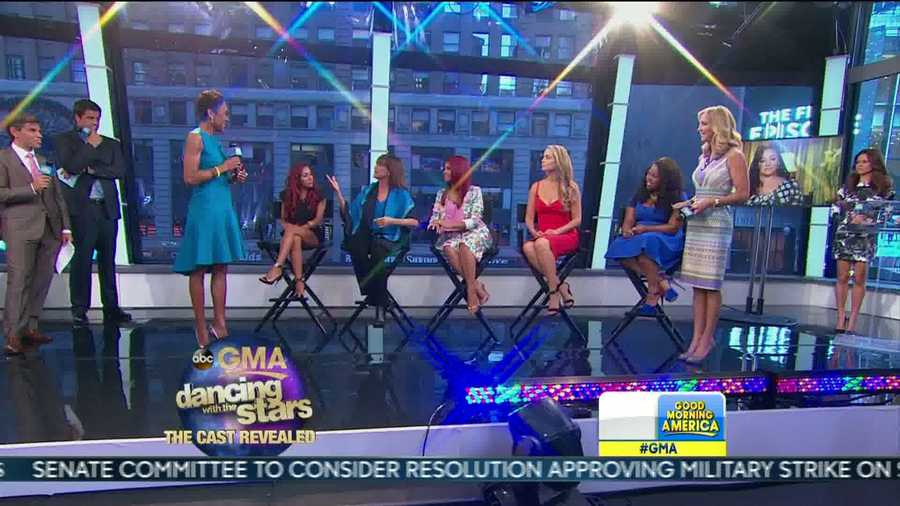 """Seated, left to right: Snooki, Valerie Harper, Christina Milian, Elizabeth Berkley and Amber Riley are part of the new """"Dancing with the Stars"""" cast."""
