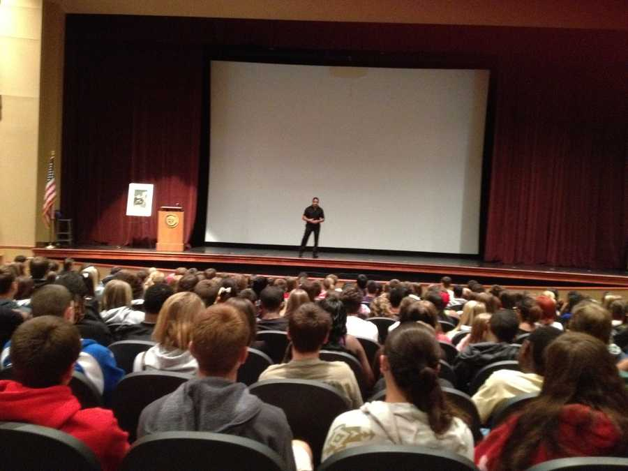 Students heard the story of Demi Cuccia's death whenGary Cuccia visited Gateway High School in Monroevillefor a special assembly Friday.