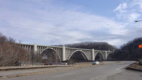 The George Westinghouse Bridge carries Route 30 (Lincoln Highway) in East Pittsburgh.