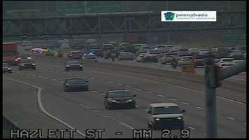The HOV crackdown caused a long backup of morning rush-hour traffic headed toward downtown Pittsburgh.
